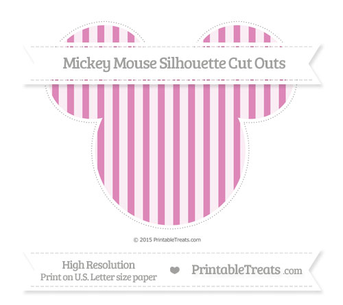 Free Pastel Fuchsia Striped Extra Large Mickey Mouse Silhouette Cut Outs