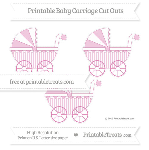 Free Pastel Fuchsia Striped Medium Baby Carriage Cut Outs