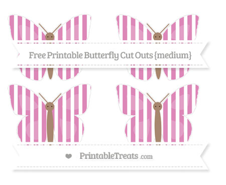 Free Pastel Fuchsia Striped Medium Butterfly Cut Outs
