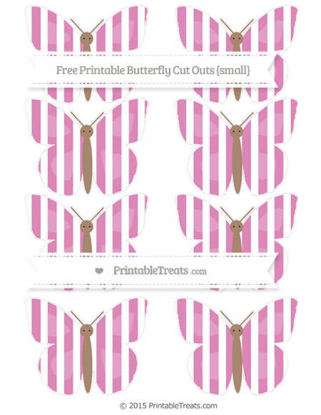 Free Pastel Fuchsia Striped Small Butterfly Cut Outs