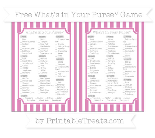Free Pastel Fuchsia Striped What's in Your Purse Baby Shower Game
