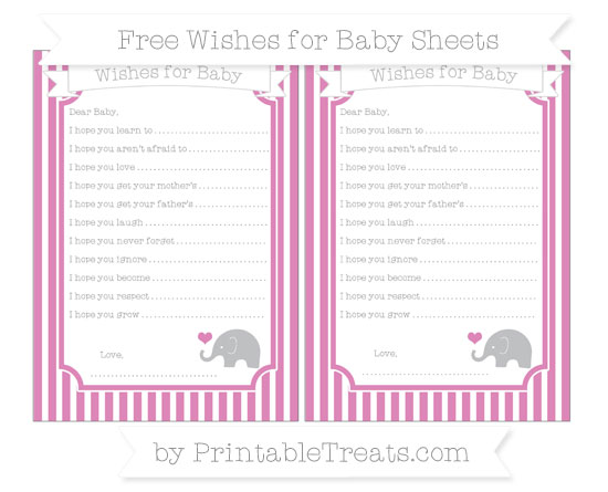 Free Pastel Fuchsia Thin Striped Pattern Baby Elephant Wishes for Baby Sheets