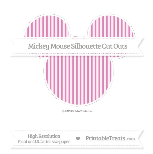 Free Pastel Fuchsia Thin Striped Pattern Extra Large Mickey Mouse Silhouette Cut Outs