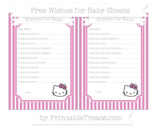 Free Pastel Fuchsia Thin Striped Pattern Hello Kitty Wishes for Baby Sheets