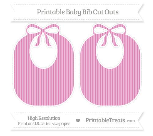 Free Pastel Fuchsia Thin Striped Pattern Large Baby Bib Cut Outs