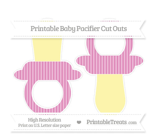 Free Pastel Fuchsia Thin Striped Pattern Large Baby Pacifier Cut Outs
