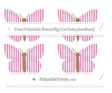 Free Pastel Fuchsia Thin Striped Pattern Medium Butterfly Cut Outs