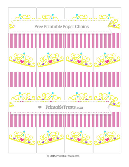 Free Pastel Fuchsia Thin Striped Pattern Princess Tiara Paper Chains