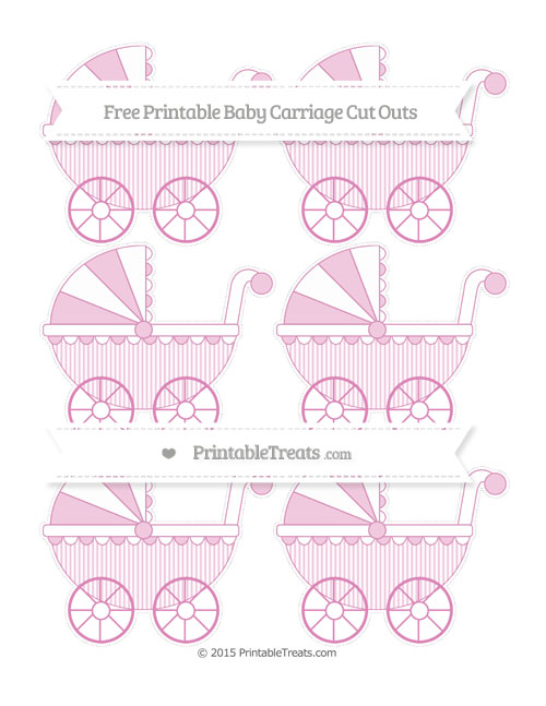 Free Pastel Fuchsia Thin Striped Pattern Small Baby Carriage Cut Outs