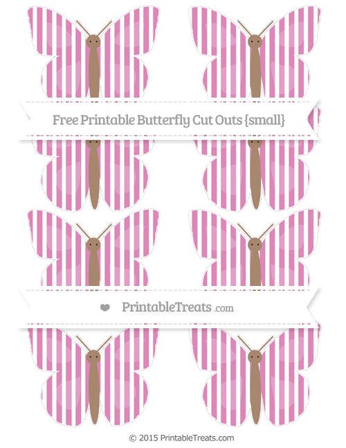 Free Pastel Fuchsia Thin Striped Pattern Small Butterfly Cut Outs