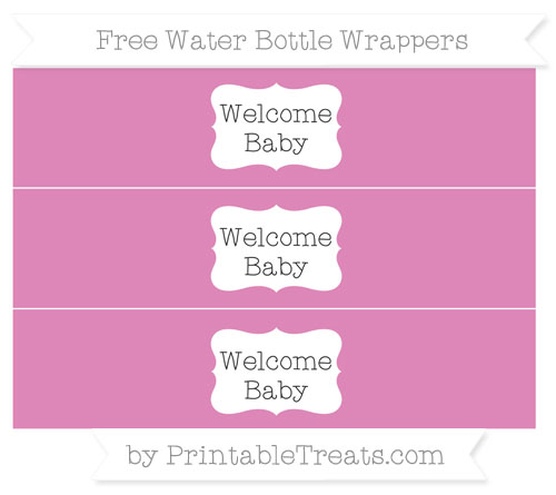 Free Pastel Fuchsia Welcome Baby Water Bottle Wrappers