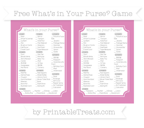Free Pastel Fuchsia What's in Your Purse Baby Shower Game