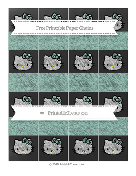 Free Pastel Green Chalk Style Hello Kitty Paper Chains