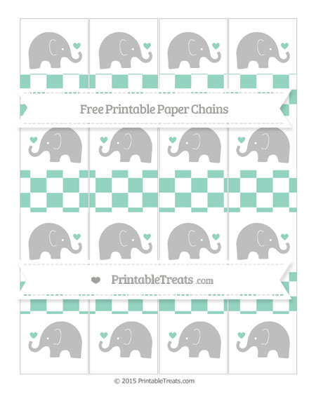 Free Pastel Green Checker Pattern Baby Elephant Paper Chains