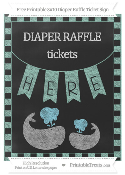 Free Pastel Green Checker Pattern Chalk Style Baby Whale 8x10 Diaper Raffle Ticket Sign