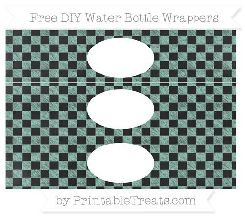 Free Pastel Green Checker Pattern Chalk Style DIY Water Bottle Wrappers