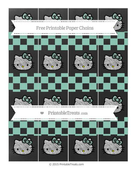 Free Pastel Green Checker Pattern Chalk Style Hello Kitty Paper Chains
