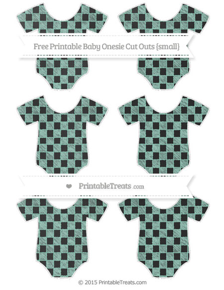 Free Pastel Green Checker Pattern Chalk Style Small Baby Onesie Cut Outs