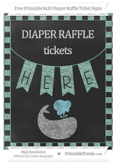 Free Pastel Green Checker Pattern Chalk Style Whale 8x10 Diaper Raffle Ticket Sign