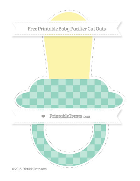 Free Pastel Green Checker Pattern Extra Large Baby Pacifier Cut Outs