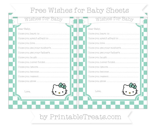 Free Pastel Green Checker Pattern Hello Kitty Wishes for Baby Sheets