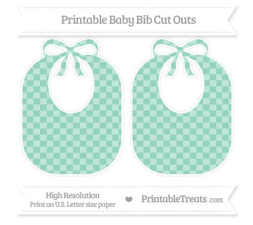 Free Pastel Green Checker Pattern Large Baby Bib Cut Outs
