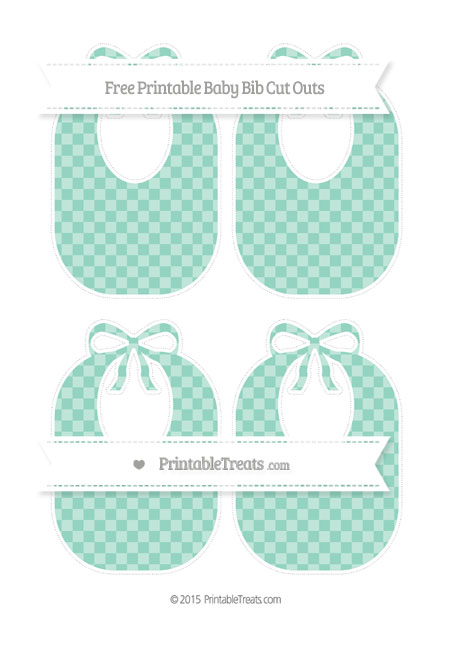 Free Pastel Green Checker Pattern Medium Baby Bib Cut Outs