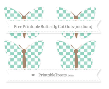 Free Pastel Green Checker Pattern Medium Butterfly Cut Outs