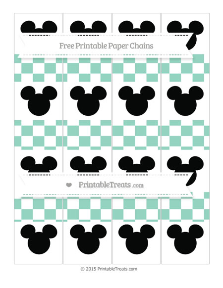 Free Pastel Green Checker Pattern Mickey Mouse Paper Chains