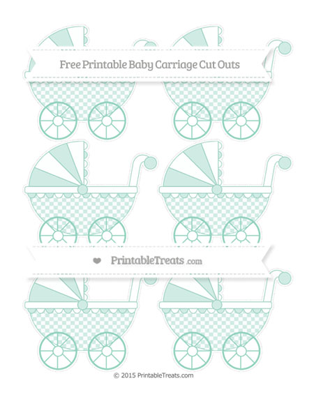 Free Pastel Green Checker Pattern Small Baby Carriage Cut Outs