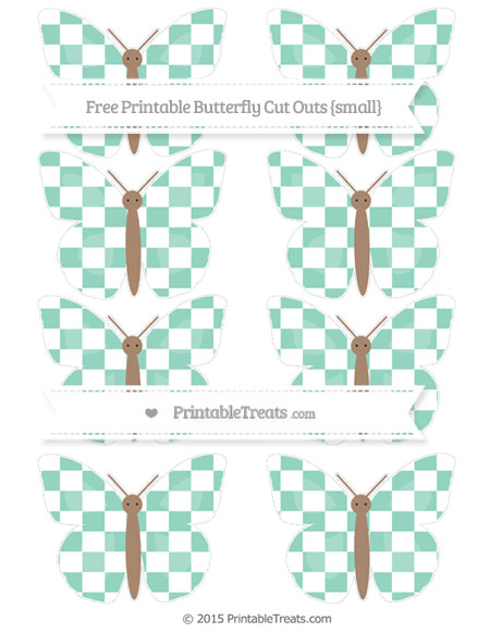 Free Pastel Green Checker Pattern Small Butterfly Cut Outs