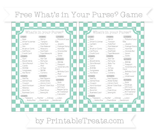 Free Pastel Green Checker Pattern What's in Your Purse Baby Shower Game