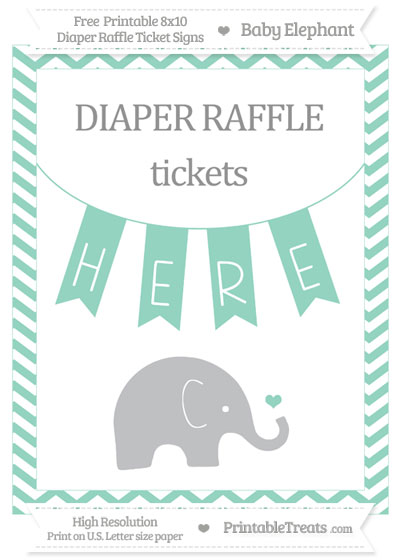 Free Pastel Green Chevron Baby Elephant 8x10 Diaper Raffle Ticket Sign