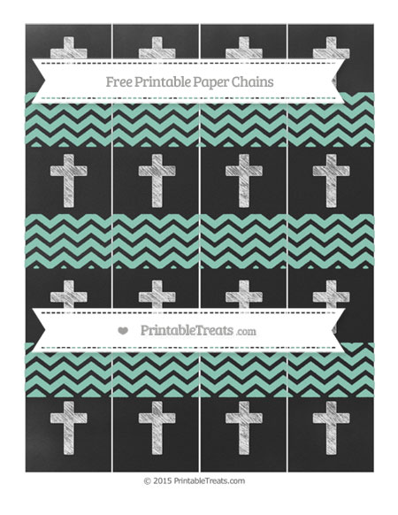 Free Pastel Green Chevron Chalk Style Cross Paper Chains
