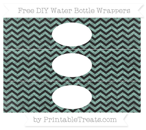Free Pastel Green Chevron Chalk Style DIY Water Bottle Wrappers