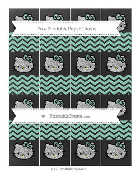 Free Pastel Green Chevron Chalk Style Hello Kitty Paper Chains