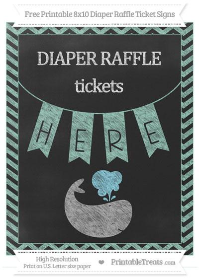 Free Pastel Green Chevron Chalk Style Whale 8x10 Diaper Raffle Ticket Sign