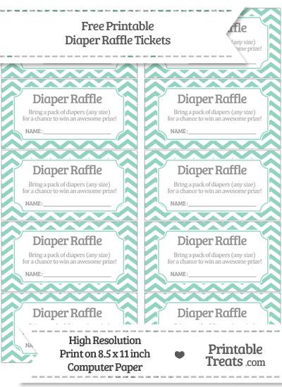 Free Pastel Green Chevron Diaper Raffle Tickets