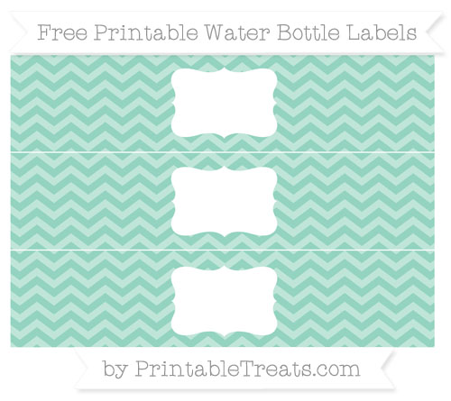 Free Pastel Green Chevron Water Bottle Labels