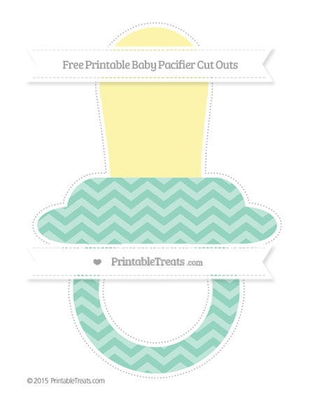 Free Pastel Green Chevron Extra Large Baby Pacifier Cut Outs