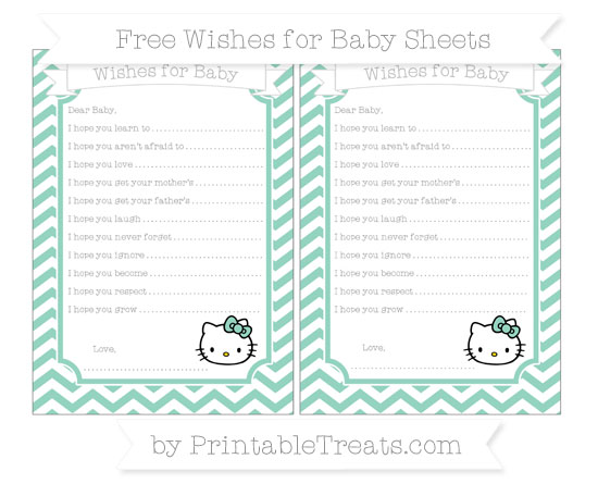 Free Pastel Green Chevron Hello Kitty Wishes for Baby Sheets