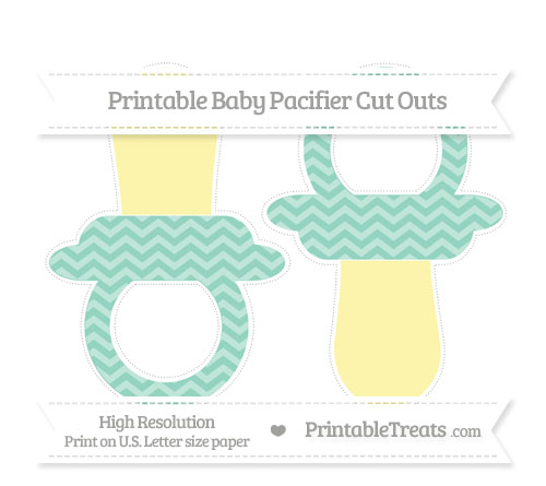 Free Pastel Green Chevron Large Baby Pacifier Cut Outs