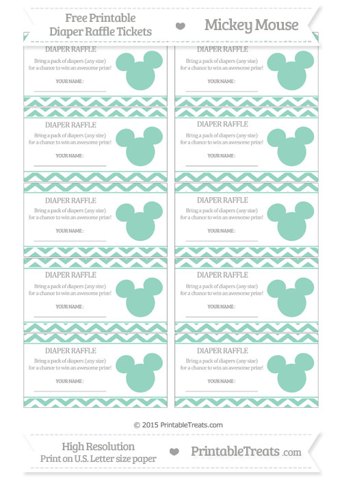 Free Pastel Green Chevron Mickey Mouse Theme Diaper Raffle Tickets
