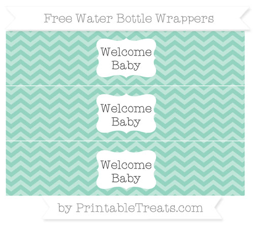 Free Pastel Green Chevron Welcome Baby Water Bottle Wrappers