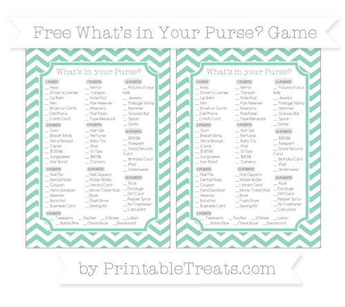 Free Pastel Green Chevron What's in Your Purse Baby Shower Game