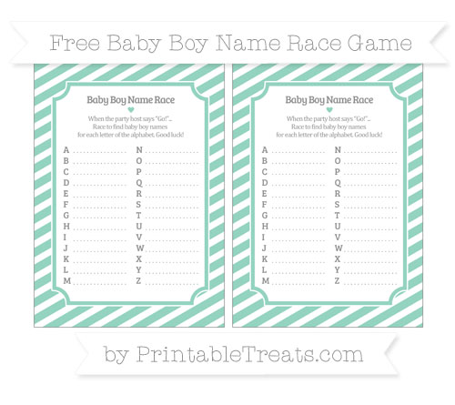 Free Pastel Green Diagonal Striped Baby Boy Name Race Game