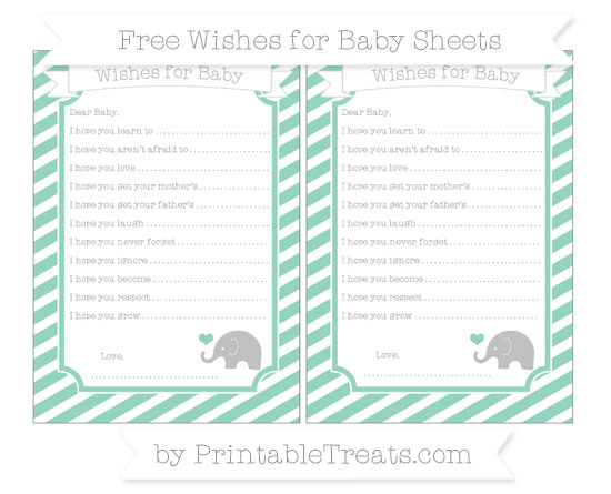 Free Pastel Green Diagonal Striped Baby Elephant Wishes for Baby Sheets