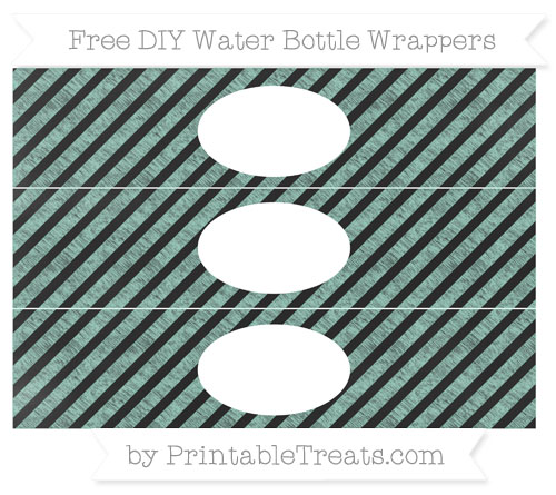 Free Pastel Green Diagonal Striped Chalk Style DIY Water Bottle Wrappers