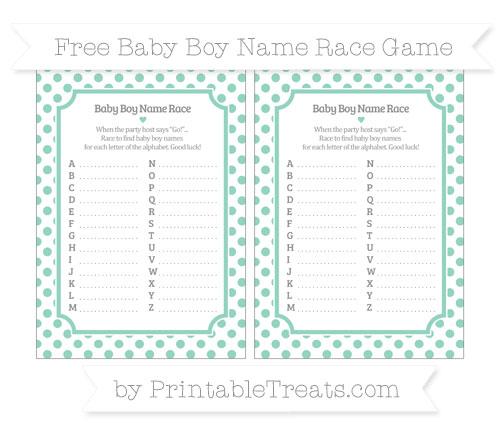 Free Pastel Green Dotted Pattern Baby Boy Name Race Game