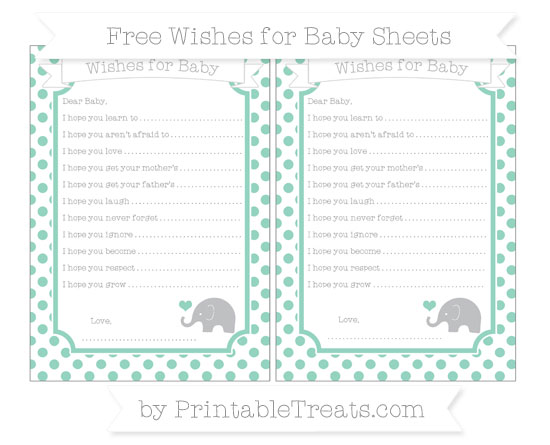 Free Pastel Green Dotted Pattern Baby Elephant Wishes for Baby Sheets